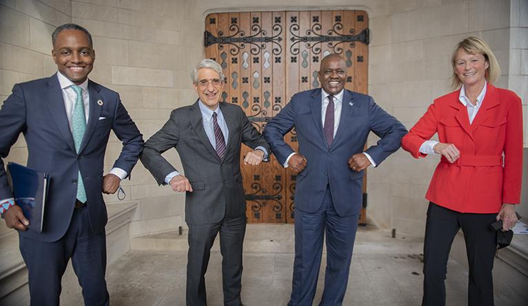 Eddie Mandhry, President Salovey, President Masisi, and Dean Burke