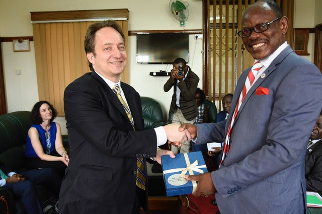 Pericles Lewis meets with Makerere vice chancellor