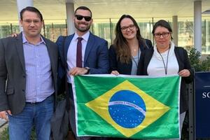 Four students from Brazil participating in Yale's Integrated Leadership Case Competition, which is hosted by GNAM