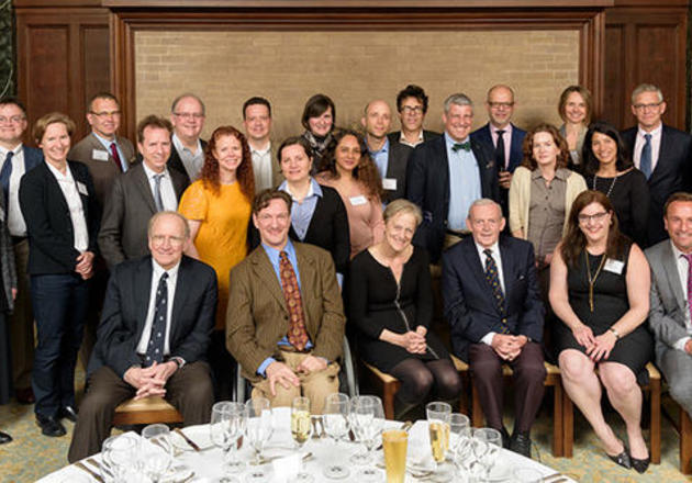 Students of Professor Paul Kennedy (first row, third from right) presented papers inspired by his work at the conference celebrating the 30th year of International Security Studies. (Photo by Jim Anderson)