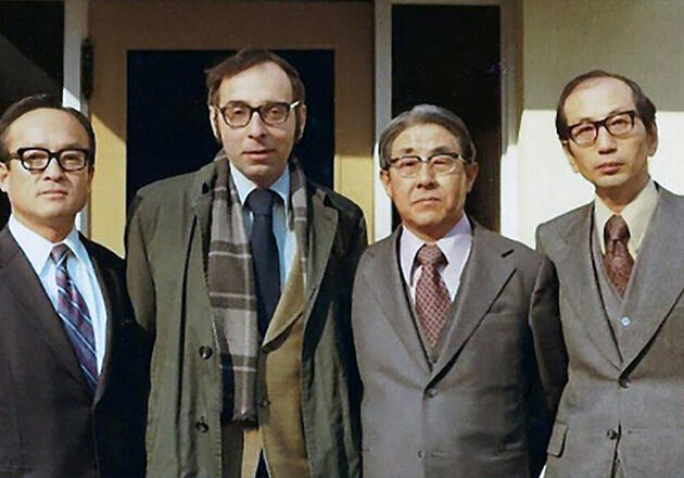 Paul Kuznets (second from left) with colleagues from the Bank of Korea during the 1966-67 academic year as part of the Country Studies program. Photo courtesy Paul Kuznets.
