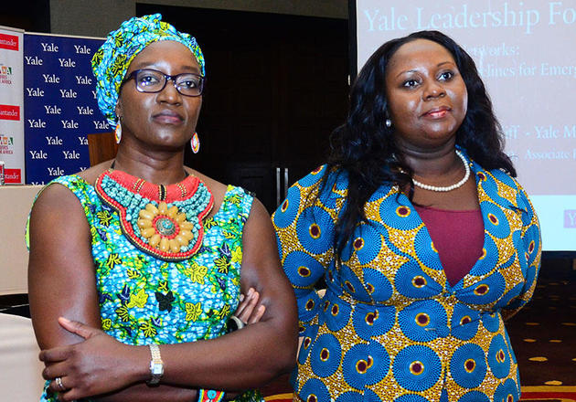 """Elizabeth Elango-Bintliff '99 (left) and Ruth Botsio '09 moderated for a session titled, """"Leveraging the Power of Mentoring"""" at the Yale Leadership Forum in Accra, Ghana."""