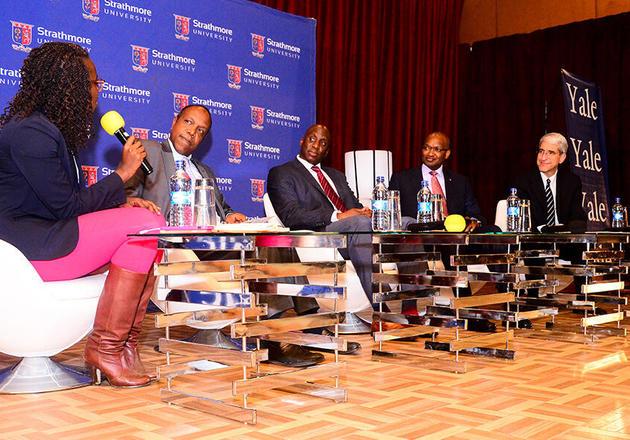 "From left: Moderator Amandla Ook-Ombaka, Dr. George Njenga, Kaakpema Yelpaal, Dr. Patrick Njoroge, and President Peter Salovey during the ""Yale-Strathmore University Leadership Forum: The Nexus Between Education & Impactful Leadership."" event in Nairobi, Kenya."