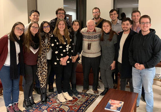 Linkage Program participants visit with former Yale Law School Dean Guido Calabresi (center), who is currently Senior Judge of the United States Court of Appeals for the Second Circuit, and Sterling Professor Emeritus of Law at Yale.