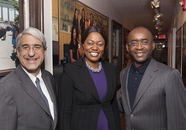 Yale President Peter Salovey (left) with Strive and Tsitsi Masiyiwa, Zimbabwean-born philanthropists and co-founders of Higherlife Foundation.