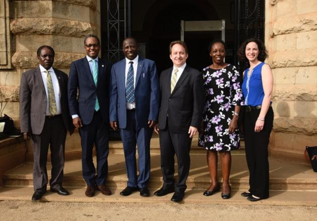 Pericles Lewis, Tracy Rabin and officials from Makerere University in Uganda