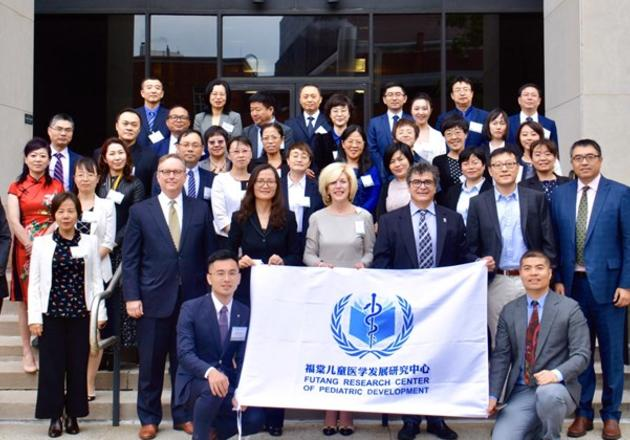 Participants in the Yale-China Children's Hospital Executive Leadership Workshop on the steps of the Yale School of Public Health (photo credit: Michael Greenwood)