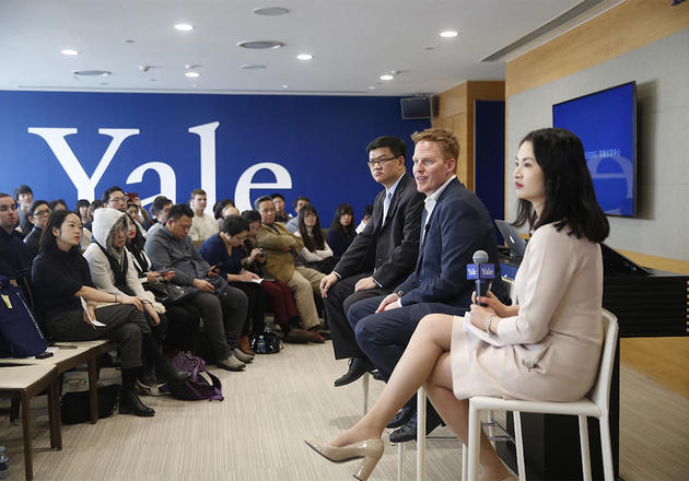 Da Wei, assistant president of the University of International Relations in Beijing; Yale SOM Deputy Dean David Bach; and Yale Center Beijing Executive Director Carol Li Rafferty at a panel discussion at the center