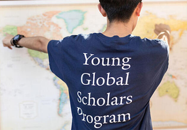 Yale Young Global Scholar with map
