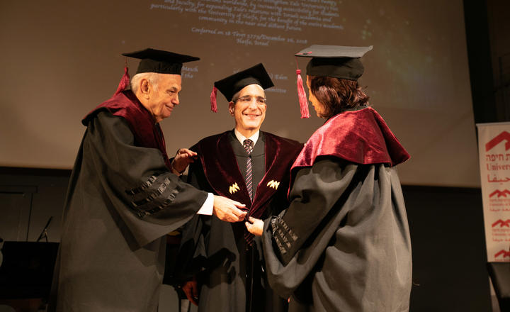 Yale president receives honorary degree from University of Haifa
